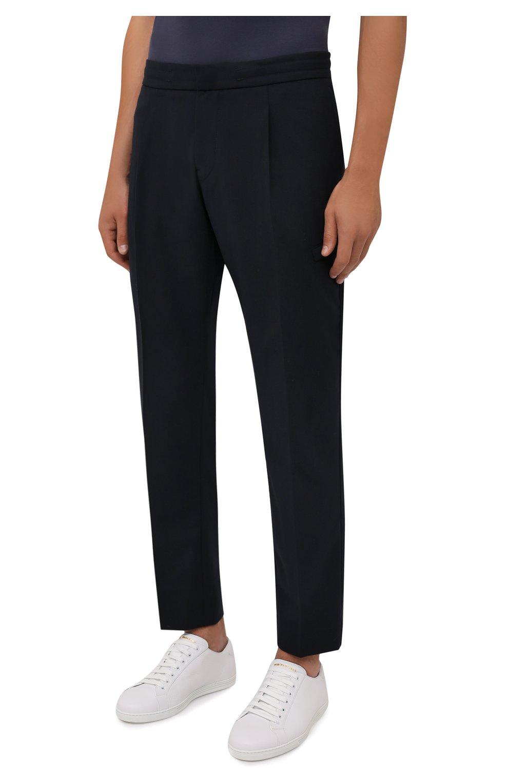Мужские брюки BOGNER темно-синего цвета, арт. 18483283   Фото 3 (Материал внешний: Шерсть, Синтетический материал; Длина (брюки, джинсы): Стандартные; Случай: Повседневный; Материал подклада: Синтетический материал; Стили: Кэжуэл)