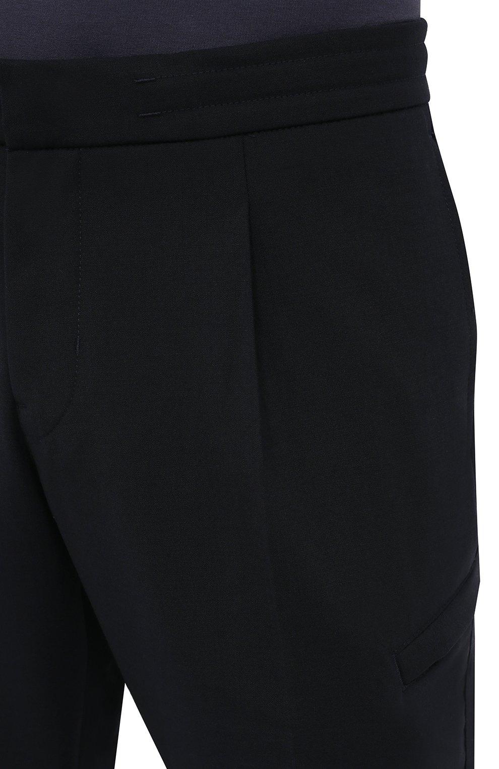 Мужские брюки BOGNER темно-синего цвета, арт. 18483283   Фото 5 (Материал внешний: Шерсть, Синтетический материал; Длина (брюки, джинсы): Стандартные; Случай: Повседневный; Материал подклада: Синтетический материал; Стили: Кэжуэл)