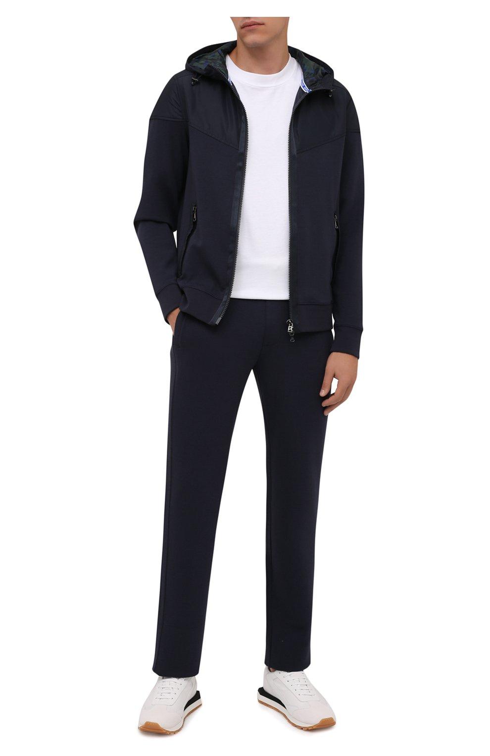 Мужские брюки BOGNER темно-синего цвета, арт. 18755253   Фото 2 (Мужское Кросс-КТ: Брюки-трикотаж; Длина (брюки, джинсы): Стандартные; Случай: Повседневный; Кросс-КТ: Спорт; Материал внешний: Синтетический материал, Хлопок; Стили: Спорт-шик, Кэжуэл)