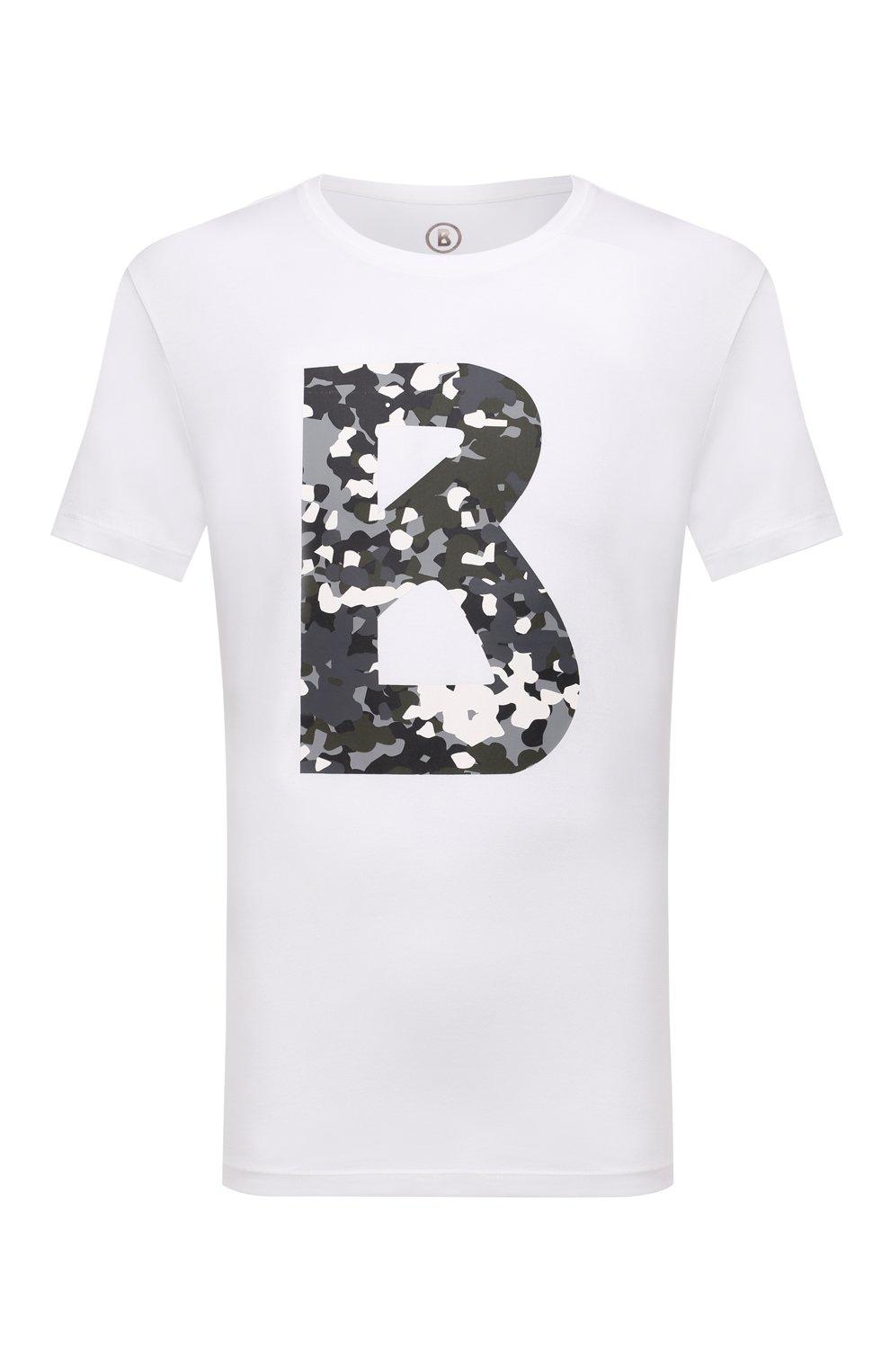 Мужская хлопковая футболка BOGNER белого цвета, арт. 58516604   Фото 1 (Рукава: Короткие; Длина (для топов): Стандартные; Принт: С принтом; Материал внешний: Хлопок; Стили: Кэжуэл)