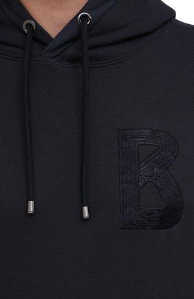 Мужской хлопковое худи BOGNER темно-синего цвета, арт. 88006441   Фото 5 (Рукава: Длинные; Принт: Без принта; Длина (для топов): Стандартные; Мужское Кросс-КТ: Худи-одежда; Материал внешний: Хлопок; Стили: Спорт-шик)