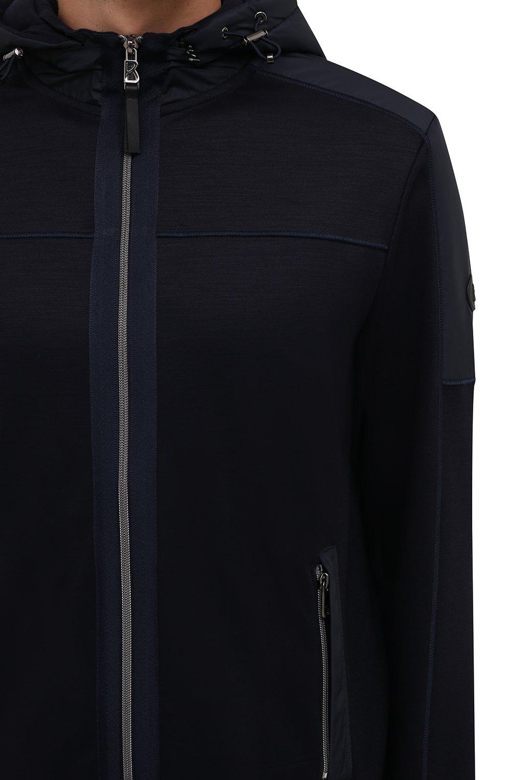 Мужской толстовка BOGNER темно-синего цвета, арт. 88046508   Фото 5 (Материал внешний: Шерсть, Синтетический материал; Рукава: Длинные; Мужское Кросс-КТ: Толстовка-одежда; Длина (для топов): Стандартные; Стили: Спорт-шик)