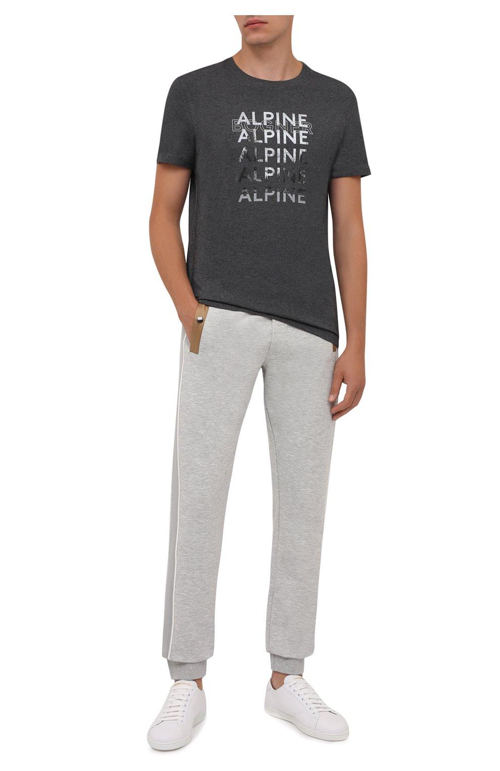 Мужская хлопковая футболка BOGNER темно-серого цвета, арт. 58526604   Фото 2 (Рукава: Короткие; Длина (для топов): Стандартные; Принт: С принтом; Материал внешний: Хлопок; Стили: Кэжуэл)
