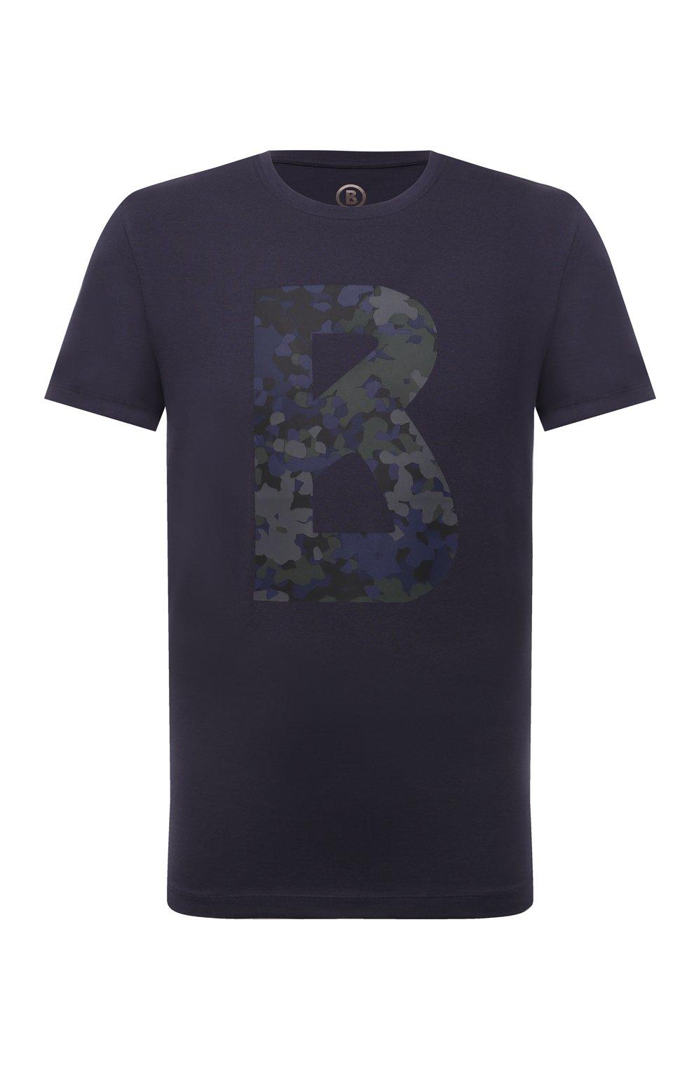Мужская хлопковая футболка BOGNER темно-синего цвета, арт. 58516604 | Фото 1 (Рукава: Короткие; Длина (для топов): Стандартные; Принт: С принтом; Материал внешний: Хлопок; Стили: Кэжуэл)