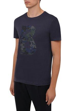 Мужская хлопковая футболка BOGNER темно-синего цвета, арт. 58516604 | Фото 3 (Рукава: Короткие; Длина (для топов): Стандартные; Принт: С принтом; Материал внешний: Хлопок; Стили: Кэжуэл)