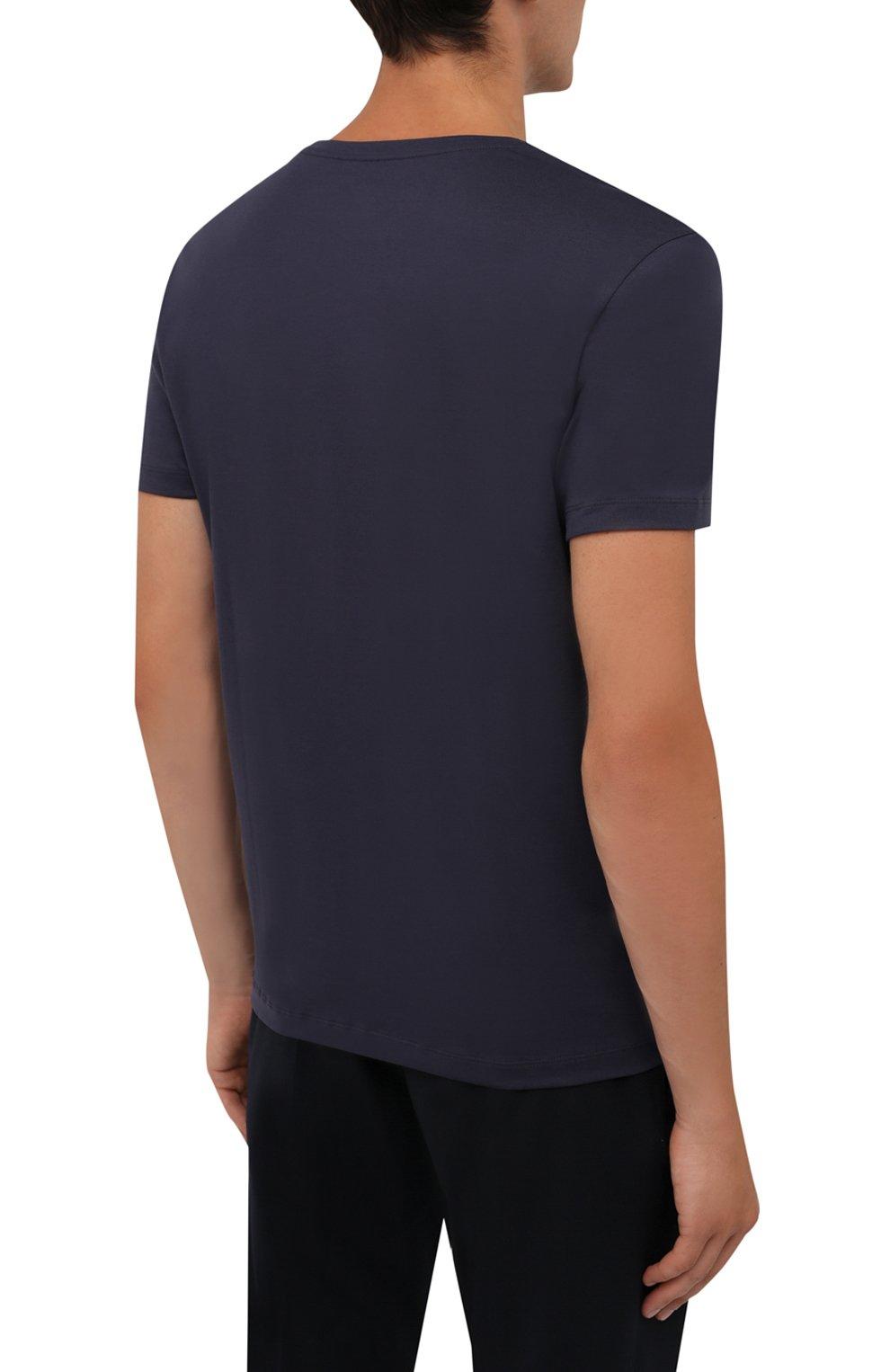 Мужская хлопковая футболка BOGNER темно-синего цвета, арт. 58516604 | Фото 4 (Рукава: Короткие; Длина (для топов): Стандартные; Принт: С принтом; Материал внешний: Хлопок; Стили: Кэжуэл)