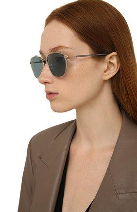 Женские солнцезащитные очки LORO PIANA голубого цвета, арт. FAL0302   Фото 2 (Тип очков: С/з; Очки форма: Авиаторы; Оптика Гендер: оптика-мужское)