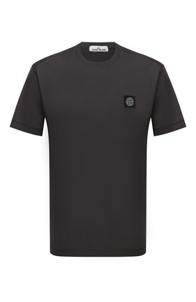 Мужская хлопковая футболка STONE ISLAND темно-серого цвета, арт. 751524113 | Фото 1