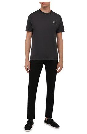 Мужская хлопковая футболка STONE ISLAND темно-серого цвета, арт. 751524113 | Фото 2