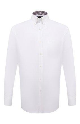 Мужская хлопковая рубашка PAUL&SHARK белого цвета, арт. 11313040/C00 | Фото 1 (Материал внешний: Хлопок; Рукава: Длинные; Случай: Повседневный; Воротник: Button down; Стили: Кэжуэл; Принт: Однотонные; Манжеты: На пуговицах; Длина (для топов): Стандартные)