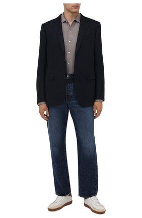 Мужская хлопковая рубашка ETON темно-бежевого цвета, арт. 1000 03093 | Фото 2 (Рукава: Длинные; Материал внешний: Хлопок; Длина (для топов): Стандартные; Случай: Повседневный; Воротник: Акула; Стили: Кэжуэл; Принт: Однотонные; Манжеты: На пуговицах)