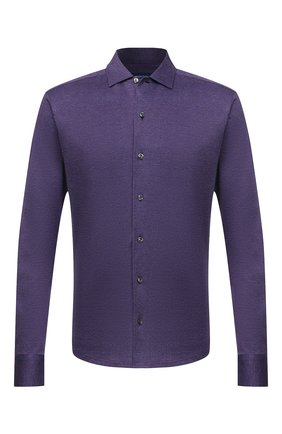 Мужская хлопковая рубашка ETON фиолетового цвета, арт. 1000 03093 | Фото 1 (Материал внешний: Хлопок; Рукава: Длинные; Случай: Повседневный; Воротник: Акула; Стили: Кэжуэл; Принт: Однотонные; Манжеты: На пуговицах; Длина (для топов): Стандартные)