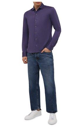 Мужская хлопковая рубашка ETON фиолетового цвета, арт. 1000 03093 | Фото 2 (Материал внешний: Хлопок; Рукава: Длинные; Случай: Повседневный; Воротник: Акула; Стили: Кэжуэл; Принт: Однотонные; Манжеты: На пуговицах; Длина (для топов): Стандартные)