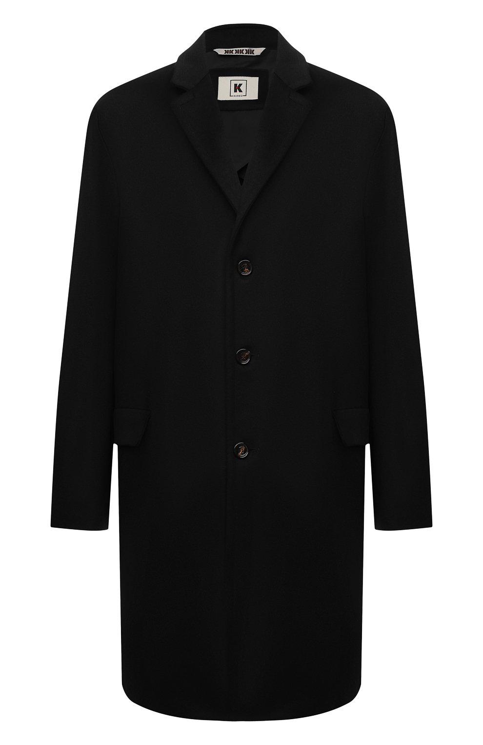 Мужской кашемировое пальто KIRED черного цвета, арт. WR0MAW6818022001/62-74 | Фото 1 (Big sizes: Big Sizes; Материал внешний: Шерсть, Кашемир; Рукава: Длинные; Длина (верхняя одежда): До колена; Стили: Классический; Материал подклада: Синтетический материал; Мужское Кросс-КТ: пальто-верхняя одежда)