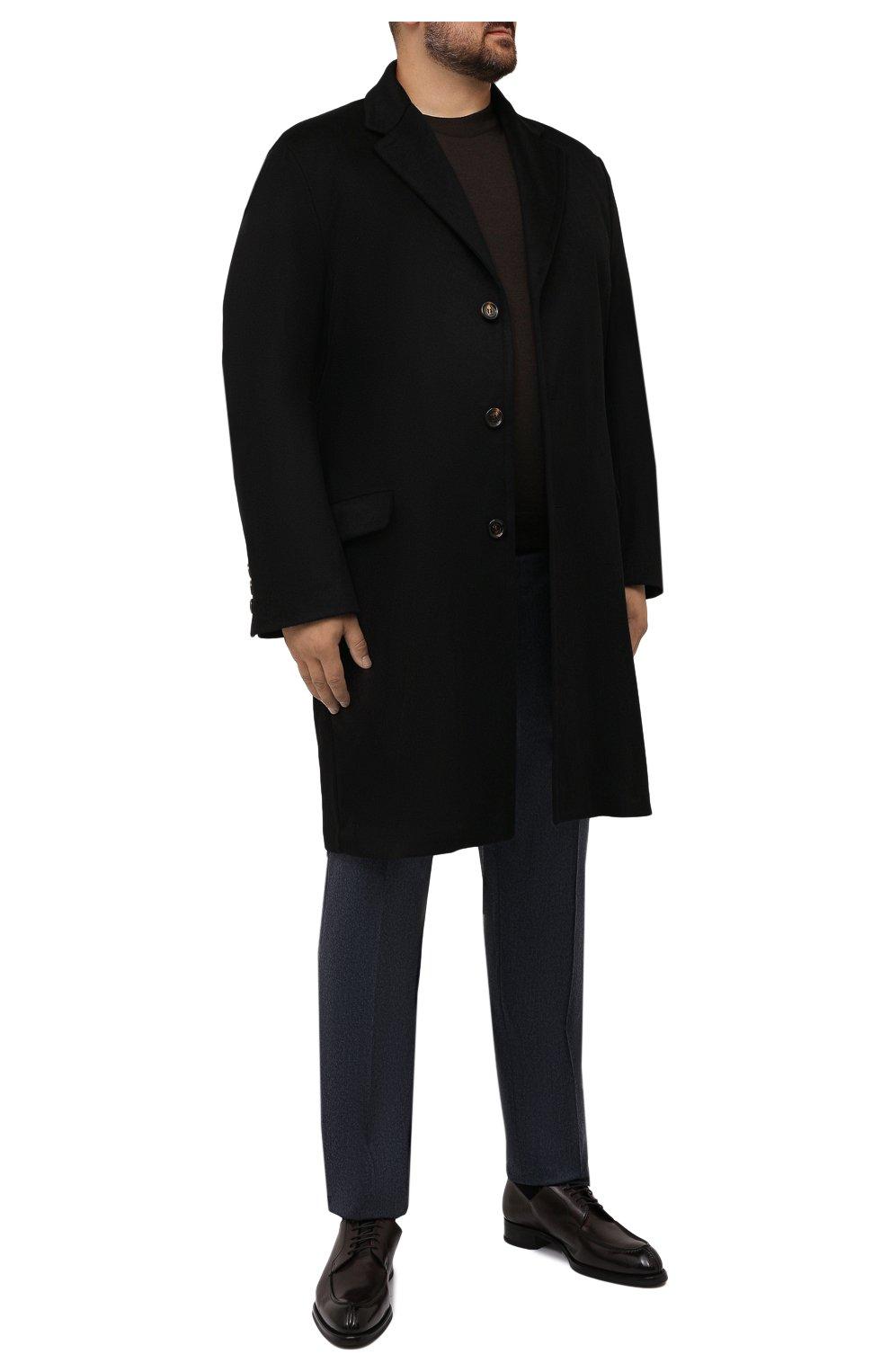 Мужской кашемировое пальто KIRED черного цвета, арт. WR0MAW6818022001/62-74 | Фото 2 (Big sizes: Big Sizes; Материал внешний: Шерсть, Кашемир; Рукава: Длинные; Длина (верхняя одежда): До колена; Стили: Классический; Материал подклада: Синтетический материал; Мужское Кросс-КТ: пальто-верхняя одежда)