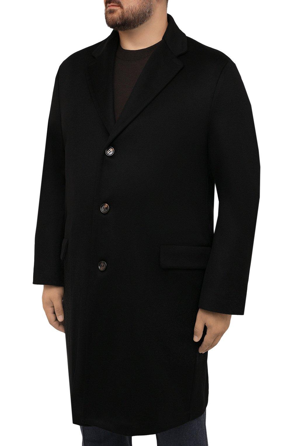 Мужской кашемировое пальто KIRED черного цвета, арт. WR0MAW6818022001/62-74 | Фото 3 (Big sizes: Big Sizes; Материал внешний: Шерсть, Кашемир; Рукава: Длинные; Длина (верхняя одежда): До колена; Стили: Классический; Материал подклада: Синтетический материал; Мужское Кросс-КТ: пальто-верхняя одежда)