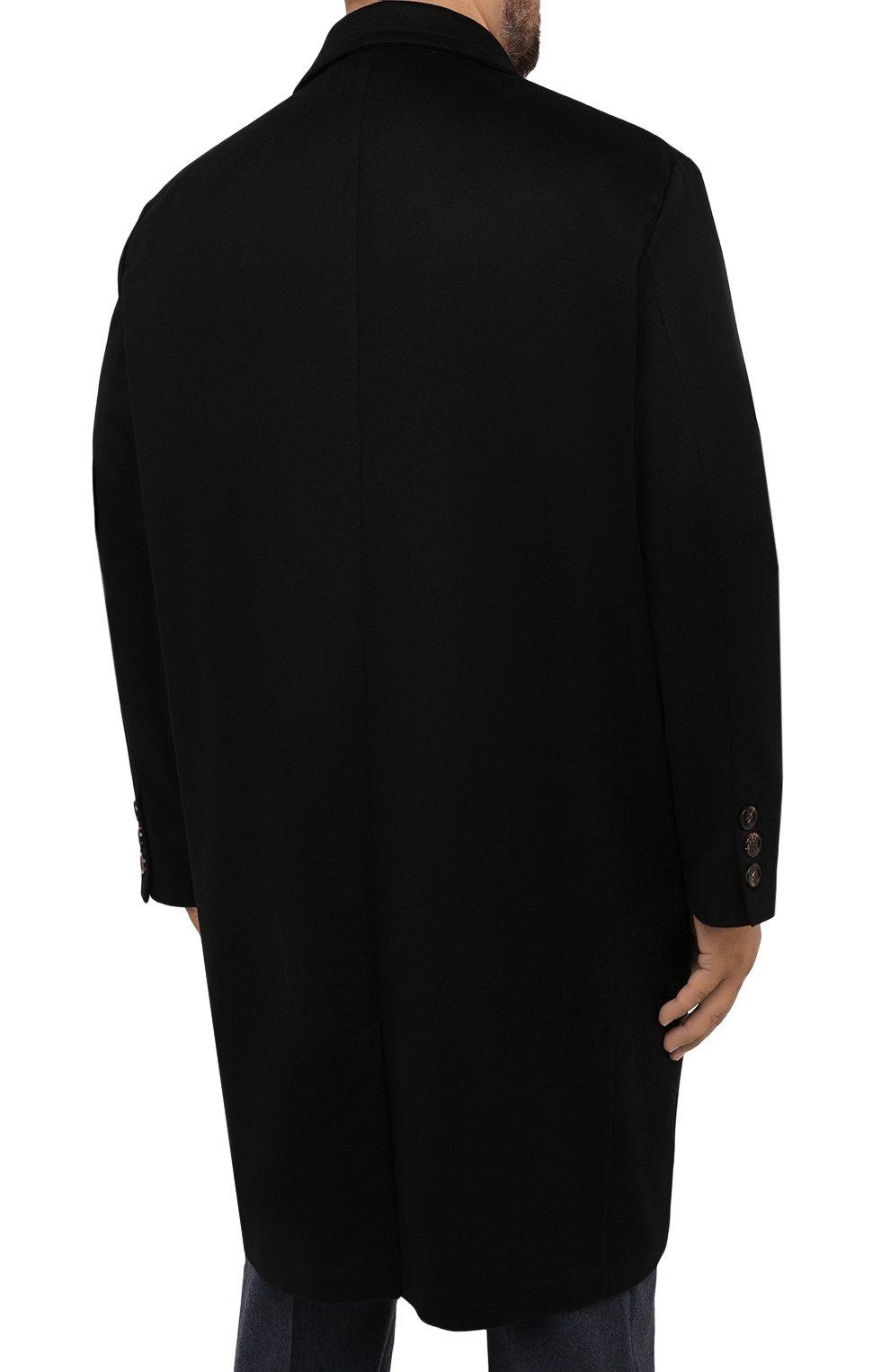 Мужской кашемировое пальто KIRED черного цвета, арт. WR0MAW6818022001/62-74 | Фото 4 (Big sizes: Big Sizes; Материал внешний: Шерсть, Кашемир; Рукава: Длинные; Длина (верхняя одежда): До колена; Стили: Классический; Материал подклада: Синтетический материал; Мужское Кросс-КТ: пальто-верхняя одежда)