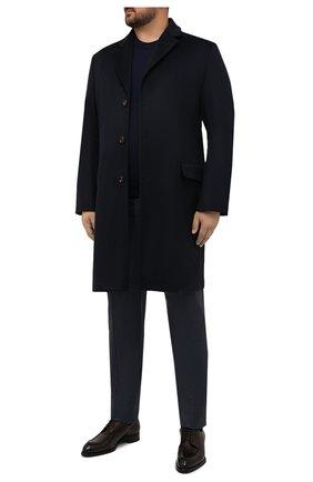 Мужской кашемировое пальто KIRED темно-синего цвета, арт. WR0MAW6818019000/62-74 | Фото 2 (Материал внешний: Кашемир, Шерсть; Рукава: Длинные; Материал подклада: Синтетический материал; Длина (верхняя одежда): До колена; Мужское Кросс-КТ: пальто-верхняя одежда; Стили: Классический; Big sizes: Big Sizes)