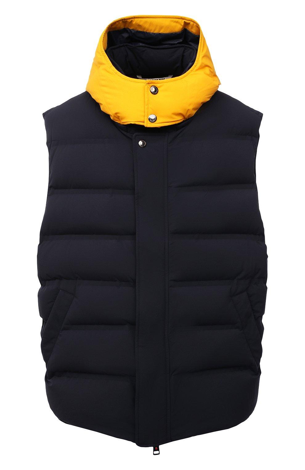 Мужской пуховый жилет KIRED темно-синего цвета, арт. WBREMAW6806523002/62-74 | Фото 1 (Кросс-КТ: Куртка, Пуховик; Big sizes: Big Sizes; Материал внешний: Синтетический материал; Материал подклада: Синтетический материал; Длина (верхняя одежда): Короткие; Материал утеплителя: Пух и перо; Стили: Кэжуэл)