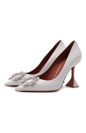 Женские кожаные туфли begum AMINA MUADDI светло-серого цвета, арт. BEGUM PUMP/NAPPA/WHITE | Фото 1