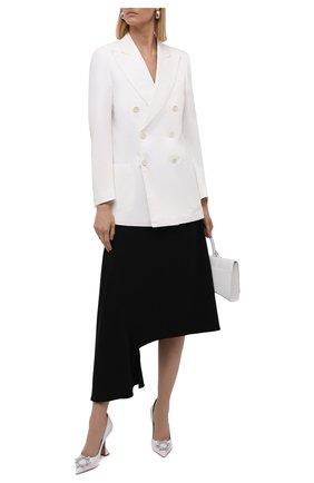 Женские кожаные туфли begum AMINA MUADDI светло-серого цвета, арт. BEGUM PUMP/NAPPA/WHITE | Фото 2