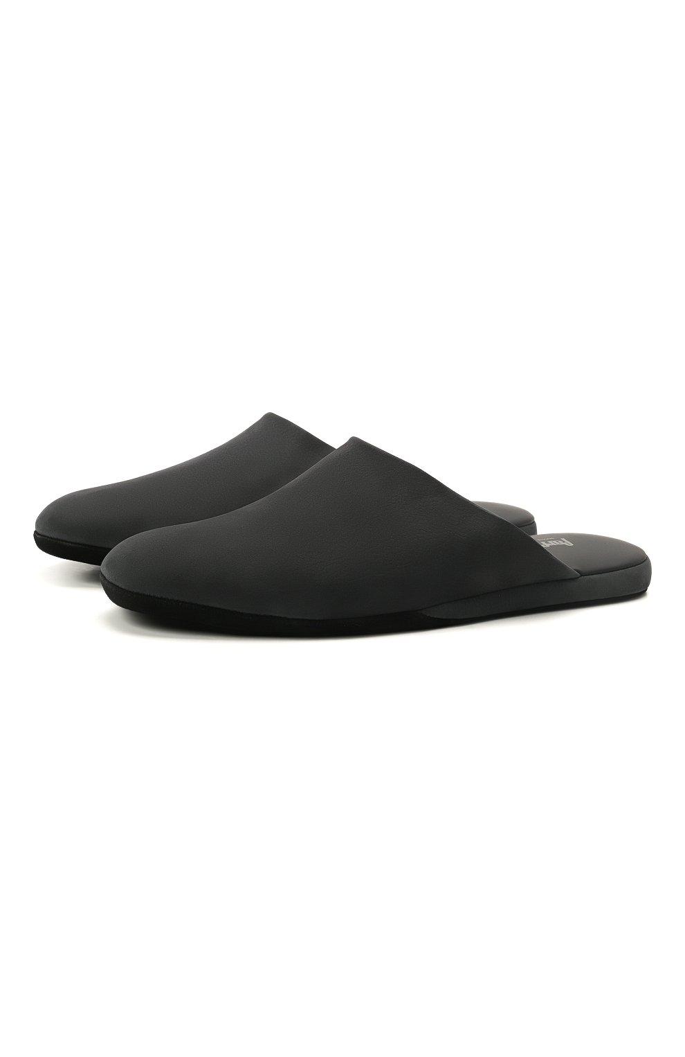 Мужского кожаные домашние туфли FARFALLA черного цвета, арт. CMP0RMAB   Фото 1 (Материал внутренний: Натуральная кожа; Мужское Кросс-КТ: тапочки-обувь)