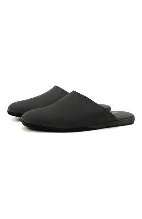 Мужского кожаные домашние туфли FARFALLA черного цвета, арт. CMP0RMAB | Фото 1 (Материал внутренний: Натуральная кожа; Мужское Кросс-КТ: тапочки-обувь)