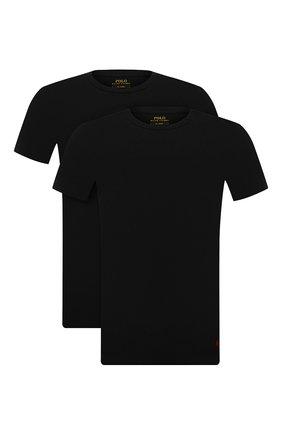 Мужская комплект из двух футболок POLO RALPH LAUREN черного цвета, арт. 714835960   Фото 1 (Материал внешний: Хлопок; Рукава: Короткие; Длина (для топов): Стандартные; Кросс-КТ: домашняя одежда)