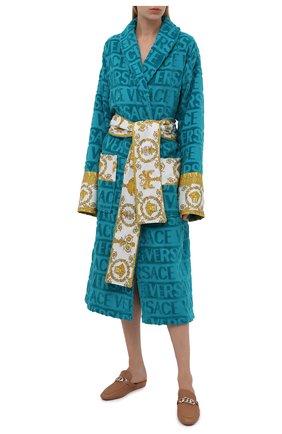 Женский хлопковый халат VERSACE бирюзового цвета, арт. ZACJ00008/ZC0SP052 | Фото 2