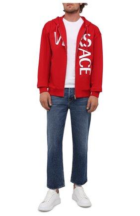 Мужской хлопковая толстовка VERSACE красного цвета, арт. 1001083/1A00719   Фото 2