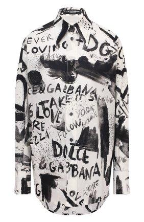 Женская хлопковая рубашка DOLCE & GABBANA черно-белого цвета, арт. F5N84T/HS5K4   Фото 1