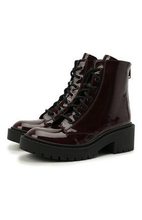 Женские кожаные ботинки pike KENZO темно-бордового цвета, арт. FB62BT340L64 | Фото 1 (Подошва: Платформа; Материал внутренний: Натуральная кожа; Каблук высота: Низкий; Женское Кросс-КТ: Военные ботинки)