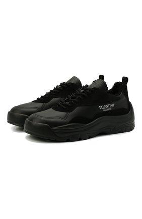 Мужские комбинированные кроссовки gumboy VALENTINO черного цвета, арт. WY2S0B17/QSM | Фото 1