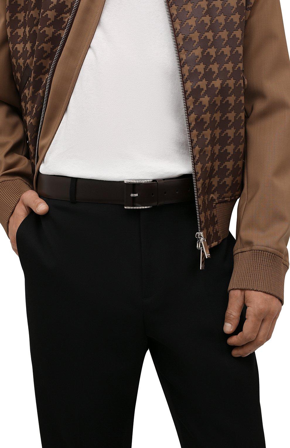 Мужской кожаный ремень ZILLI темно-коричневого цвета, арт. MJL-CLAQE-01030/0082/120-130 | Фото 2 (Случай: Формальный)