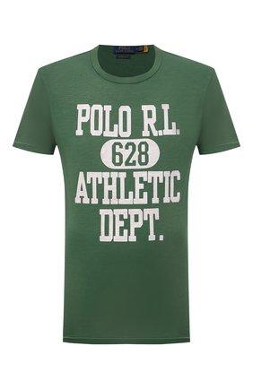 Мужская хлопковая футболка POLO RALPH LAUREN зеленого цвета, арт. 710851923 | Фото 1 (Материал внешний: Хлопок; Длина (для топов): Стандартные; Рукава: Короткие; Принт: С принтом; Стили: Кэжуэл)