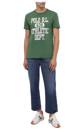 Мужская хлопковая футболка POLO RALPH LAUREN зеленого цвета, арт. 710851923 | Фото 2 (Материал внешний: Хлопок; Длина (для топов): Стандартные; Рукава: Короткие; Принт: С принтом; Стили: Кэжуэл)