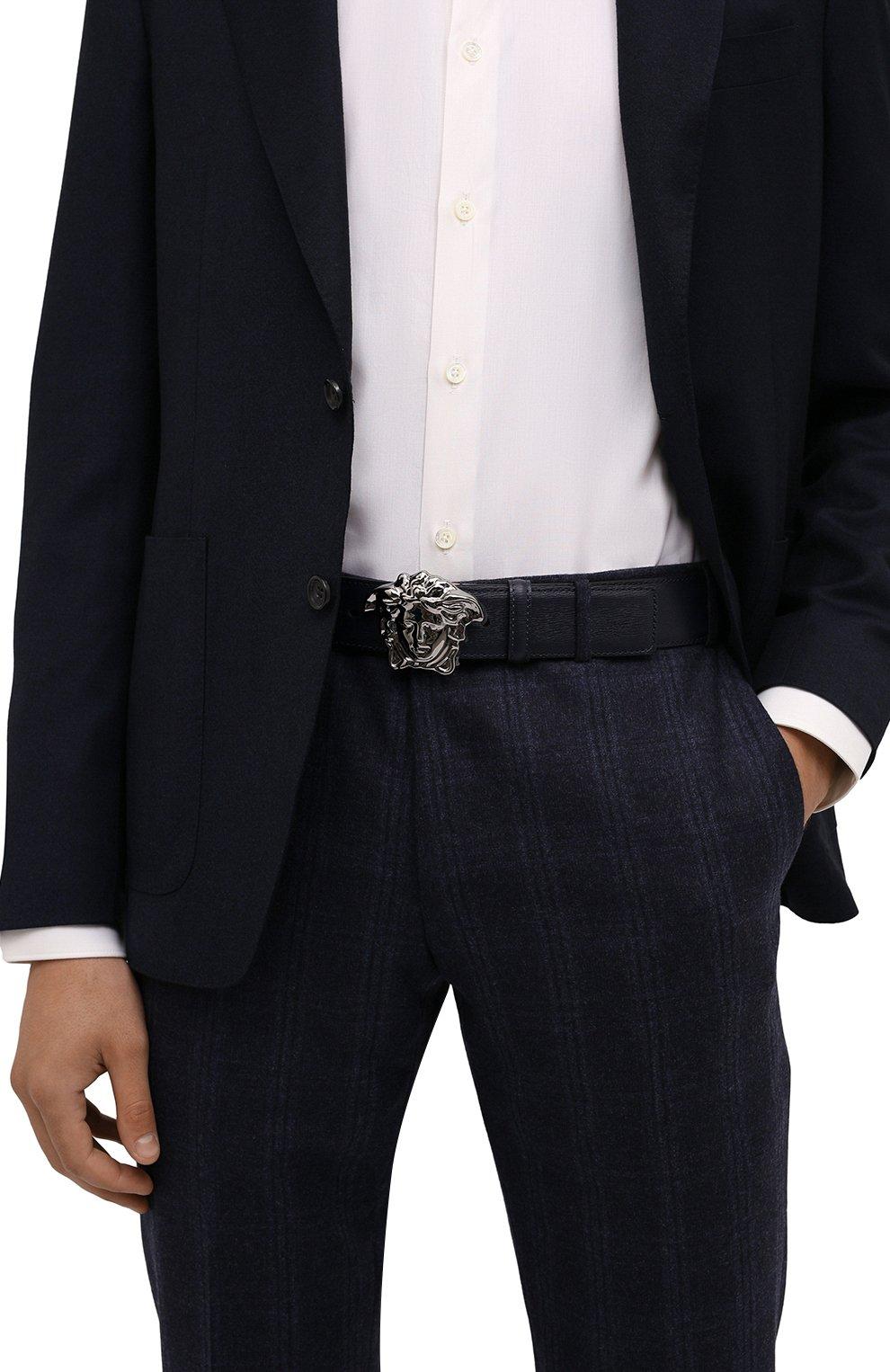 Мужской кожаный ремень VERSACE темно-синего цвета, арт. 1001340/1A00593   Фото 2 (Случай: Повседневный, Формальный)