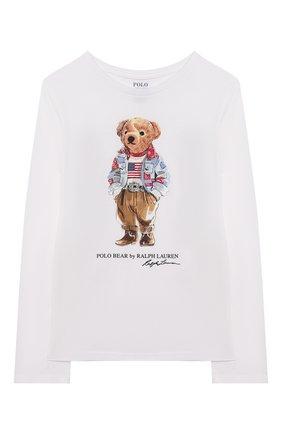 Детская хлопковый лонгслив POLO RALPH LAUREN белого цвета, арт. 313854212 | Фото 1