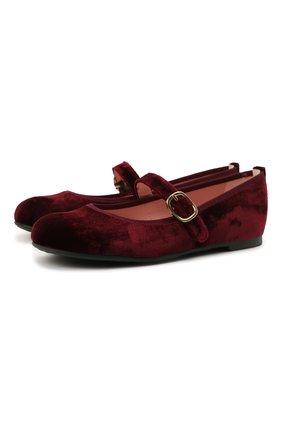 Детские текстильные балетки PRETTY BALLERINAS бордового цвета, арт. 49.630/AFR0DITE-D0 | Фото 1 (Материал внешний: Текстиль; Материал внутренний: Натуральная кожа)