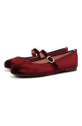 Детские текстильные балетки PRETTY BALLERINAS бордового цвета, арт. 49.636/AFR0DITE-D0 | Фото 1 (Материал внутренний: Натуральная кожа; Материал внешний: Текстиль)
