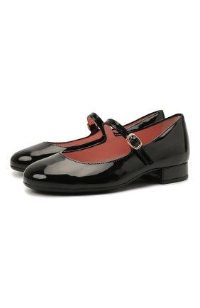 Детские кожаные туфли PRETTY BALLERINAS черного цвета, арт. 49.649/SHADE | Фото 1