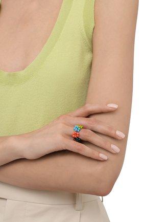 Женское кольцо ромашка HIAYNDERFYT разноцветного цвета, арт. 1-1SLVRRM | Фото 2 (Материал: Стекло, Пластик)