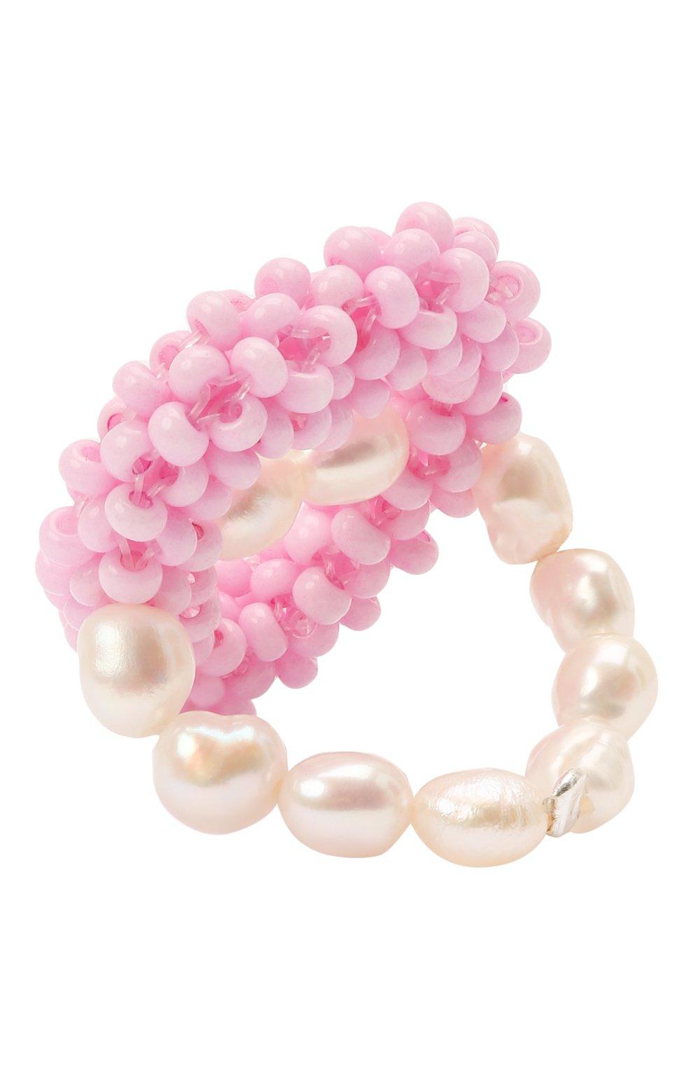 Женское кольцо розовое сердце HIAYNDERFYT розового цвета, арт. 1-1PEMPTYHT   Фото 3 (Материал: Стекло, Пластик)