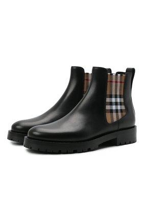 Женские кожаные ботинки allostock chk BURBERRY черного цвета, арт. 8042363 | Фото 1 (Каблук высота: Низкий; Материал внутренний: Натуральная кожа; Подошва: Платформа; Женское Кросс-КТ: Челси-ботинки)