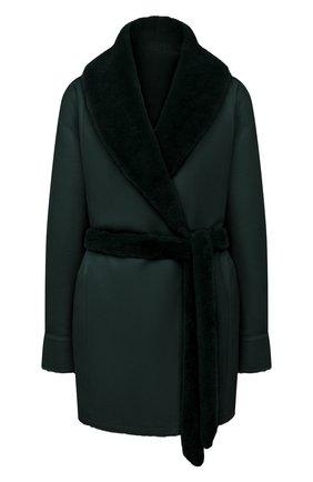 Женская двусторонняя дубленка LORO PIANA зеленого цвета, арт. FAL7302 | Фото 1 (Материал внешний: Натуральный мех; Стили: Кэжуэл; Рукава: Длинные; Длина (верхняя одежда): До середины бедра)