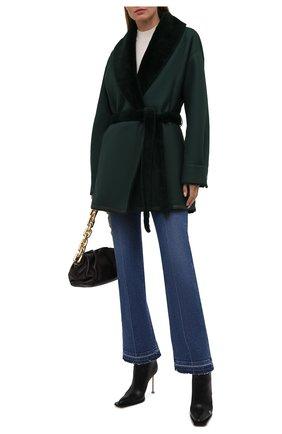 Женская двусторонняя дубленка LORO PIANA зеленого цвета, арт. FAL7302 | Фото 2 (Материал внешний: Натуральный мех; Стили: Кэжуэл; Рукава: Длинные; Длина (верхняя одежда): До середины бедра)
