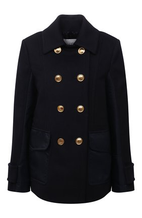 Женское пальто из шерсти и кашемира VALENTINO синего цвета, арт. WB3CJ21515E | Фото 1 (Рукава: Длинные; Материал внешний: Шерсть; Материал подклада: Купро; Длина (верхняя одежда): До середины бедра; 1-2-бортные: Двубортные; Стили: Кэжуэл)