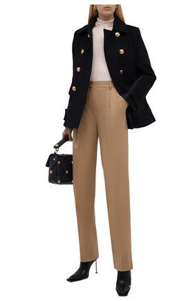 Женское пальто из шерсти и кашемира VALENTINO синего цвета, арт. WB3CJ21515E | Фото 2 (Рукава: Длинные; Материал внешний: Шерсть; Материал подклада: Купро; Длина (верхняя одежда): До середины бедра; 1-2-бортные: Двубортные; Стили: Кэжуэл)