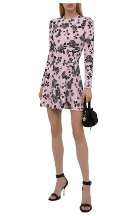 Женское платье REDVALENTINO светло-розового цвета, арт. WR0VACD0/65L   Фото 2 (Рукава: Длинные; Длина Ж (юбки, платья, шорты): Мини; Материал внешний: Синтетический материал; Случай: Повседневный; Женское Кросс-КТ: Платье-одежда; Стили: Романтичный)