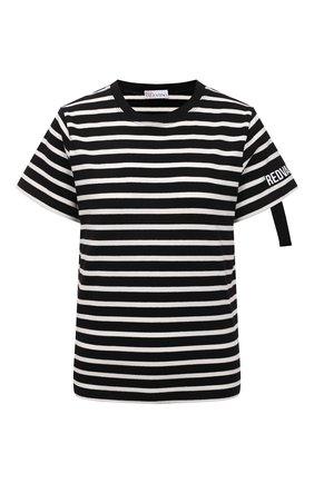 Женская хлопковая футболка REDVALENTINO черно-белого цвета, арт. WR0MG12G/686 | Фото 1 (Материал внешний: Хлопок; Длина (для топов): Стандартные; Рукава: Короткие; Женское Кросс-КТ: Футболка-одежда; Принт: С принтом; Стили: Кэжуэл)